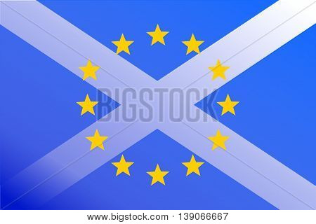 Flags of Scotland and European Union are Superimposed: Scotland Wants to Remain in EU following Brexit Referendum (Concept)