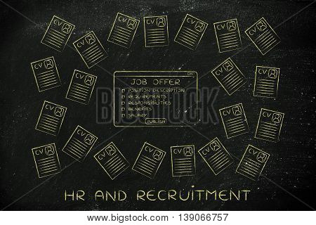 Job Offer Surrounded By Lots Of Resumes