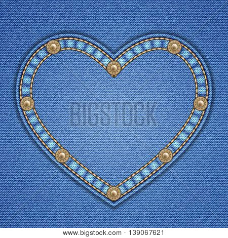 Heart shaped patch with rivets on denim background. Vector illustration