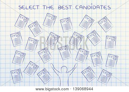 Happy Recruiter Surrounded By Lots Of Resumes