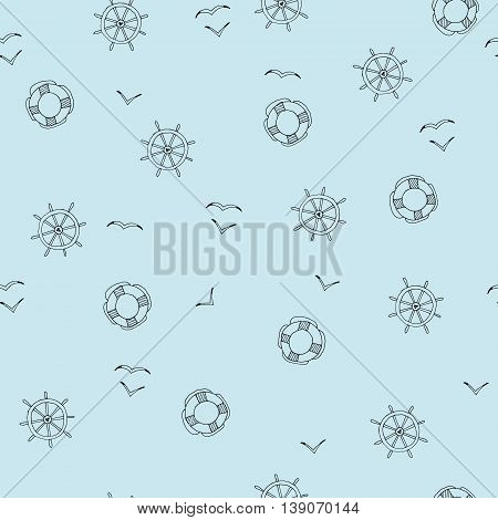 Seamless background with hand-drawn sea elements. Simple background with a steering wheel lifeline and a seagull.Can be used for wallpapers web page backgrounds.