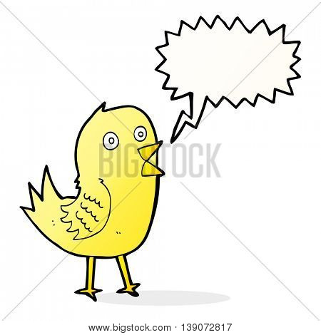 cartoon tweeting bird with speech bubble