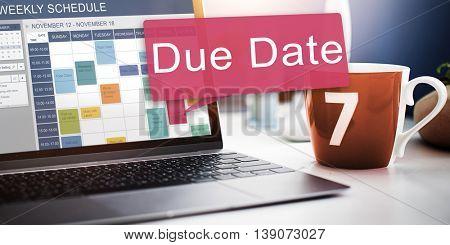 Due Date Deadline Schedule Calender Reminder To Do Concept
