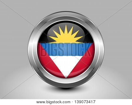 Flag Of Antigua And Barbuda. Metal And Glass Round Icon