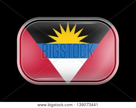 Flag Of Antigua And Barbuda. Rectangular Shape With Rounded Corners