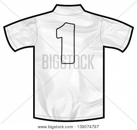 Number 1 one white sport shirt as a soccer, hockey, basket, rugby, baseball, volley or football team t-shirt. Like German or England or USA national team