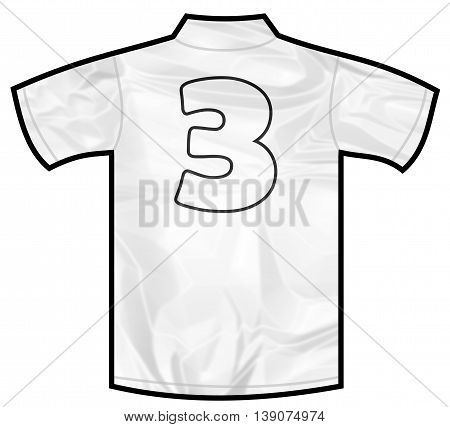 Number 3 three white sport shirt as a soccer, hockey, basket, rugby, baseball, volley or football team t-shirt. Like German or England or USA national team
