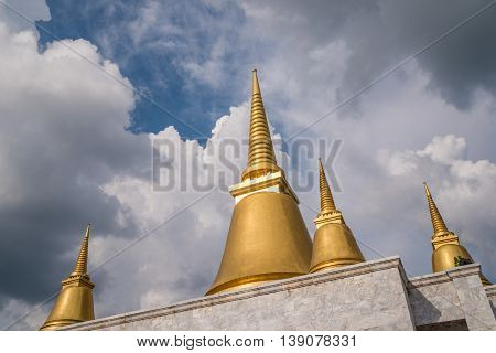 Nakhon Pathom Thailand - July 17 2016 The golden stupa at Phutthamonthon park in the Phutthamonthon district. One of a famous place for Buddhism. Located on the west of Bangkok