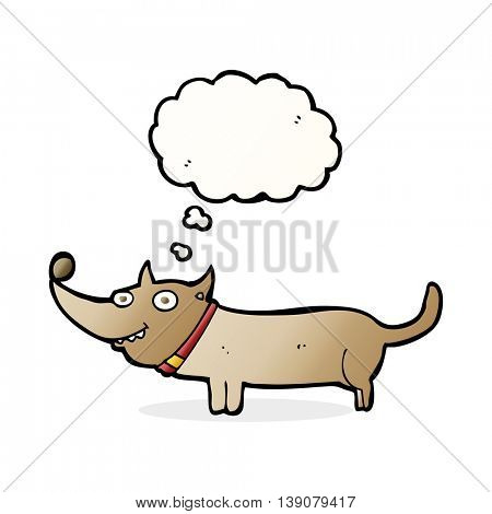 cartoon happy dog with thought bubble