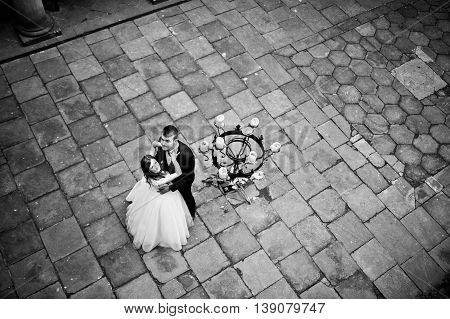 Wedding couple. Photo from quad copter drone view