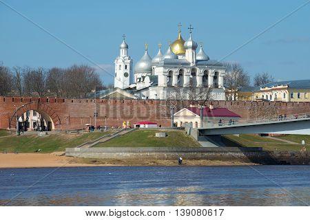 GREAT NOVGOROD, RUSSIA: APRIL 13, 2016: View on the citadel and domes of Novgorod Kremlin, sunny april day. Historical landmark of the city Veliky Novgorod