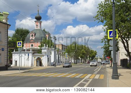 MOSCOW, RUSSIA - JUNE 23, 2016: View of the city. Temple of St. Catherine the Great Martyr Bolshaya Ordynka street 60/2