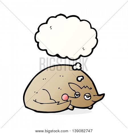 cartoon curled up dog with thought bubble