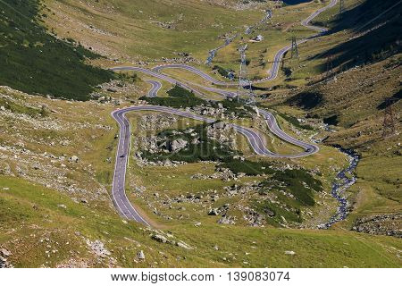Summer morning landscape of Transfagarasan mountain road