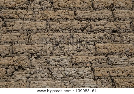 Earthen wall background, texture of soil and clay