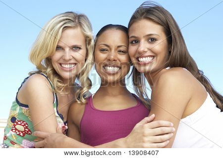 Group Of Three Female Friends Having Fun Together poster