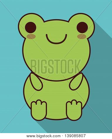 Cute animal design represented by kawaii frog icon. Colorfull and flat illustration. poster