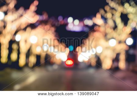 Bokeh Light Of Road To Harbour At Night In Hakodate