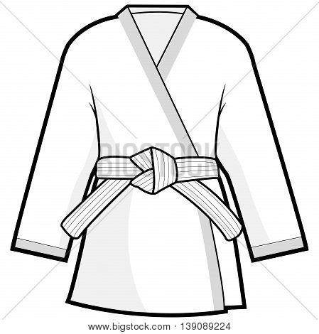 Vector illustration of martial arts uniform. Karate, Taekwondo, judo, jujitsu, kickboxing, or kung fu suit.