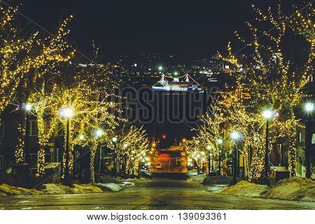 Light Of Road To Harbour At Night In Hakodate