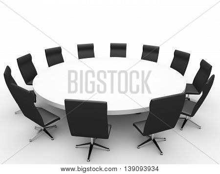 Round table. Meeting on white background. 3D illustration.
