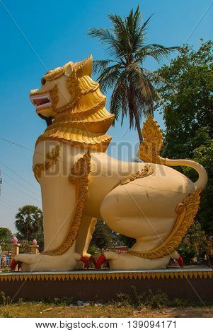 Sculptures Of Mythological Animals At The Entrance. Chinthe. Bago. Myanma. Burma.