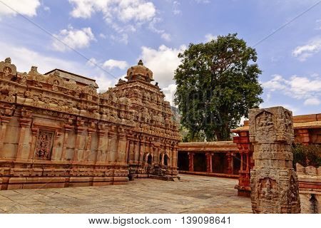View of the South Indian Hindu temple of Lord Bhoganandeeshwara captured from corner of the courtyard at Chikkaballapur captured on July 16th, 2016