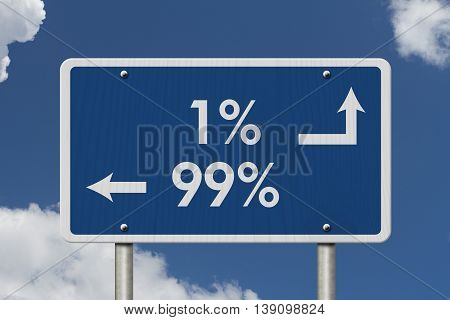 The 1% ers versus the 99% ers Blue Road Sign with text 1% and 99% with sky background, 3D Illustration