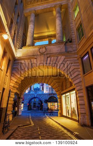 Archway Under Historic Buildigs To Regent Street In London, Uk