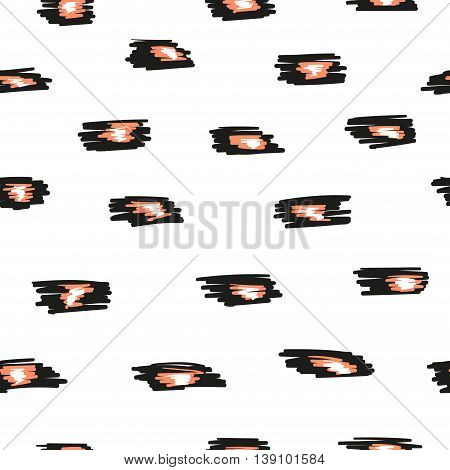Seamless pattern with black, white and pink spots. Abstract animal print. Vector backgrounds.