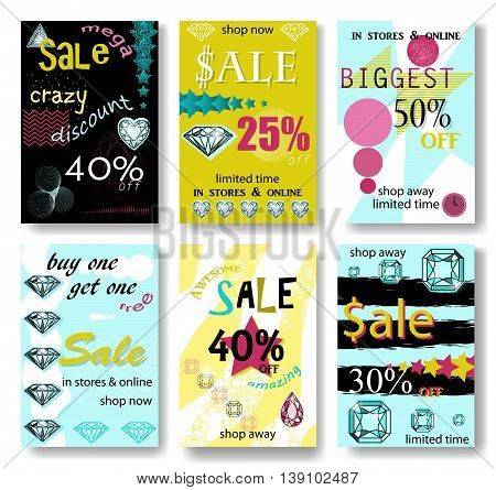 Modern eye catching social media sale banners. Vector illustrations for website and mobile website banners posters email and newsletter designs ads promotional material.