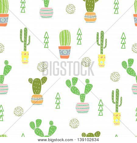 Seamless pattern with doodle cactus. Vector background with cartoon flowers in pots