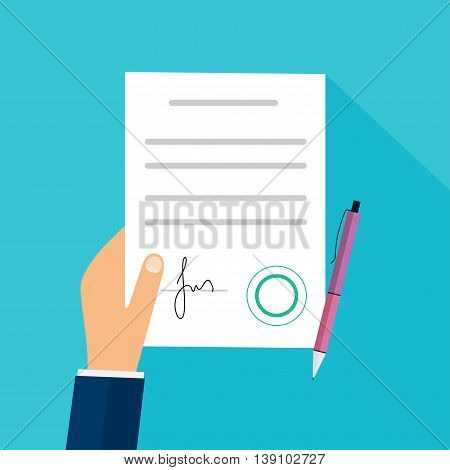 Business man hand holding contract agreement vector illustration. Modern flat design concept for web banners web sites printed materials infographics.