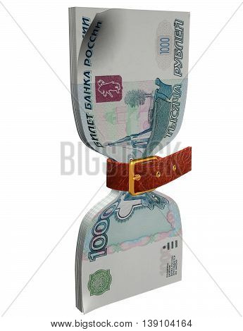 Pack of 1000 ruble banknotes tightly constricted belt 3D illustration