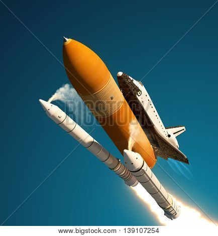 Space Shuttle Solid Rocket Boosters Separation. 3D Illustration. poster