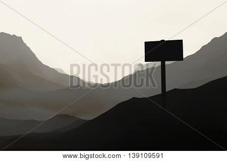 Desert landscape with singboard. 3D Rendering. Close up.