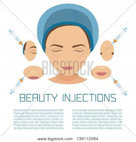 Beauty facial injections. Anti-ageing therapy process for facelift and wrinkles. Female rejuvenation treatment infographics. Vector illustration.