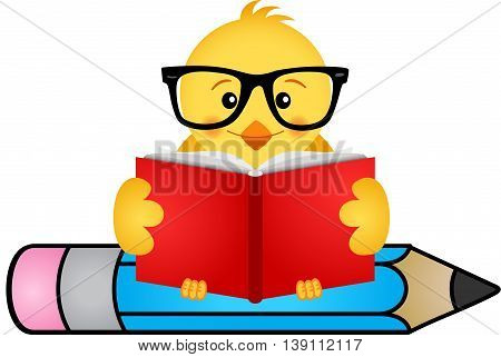Scalable vectorial image representing a chick reading book sitting on pencil, isolated on white.