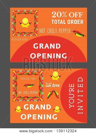 Set of templates for Mexican restaurant. Grand opening advertising. Bonus flyer. Invitation card. Hot chili pepper. Lime and paprika. Vector illustration