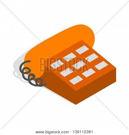 Phone handset icon in isometric 3d style isolated on white background. Conversations symbol