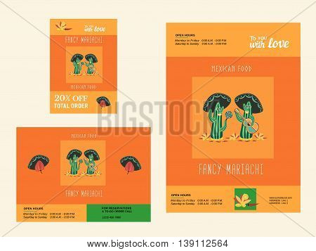 Set of templates for mexican restaurant. Mexican food advertisement flyers. Vector illustration