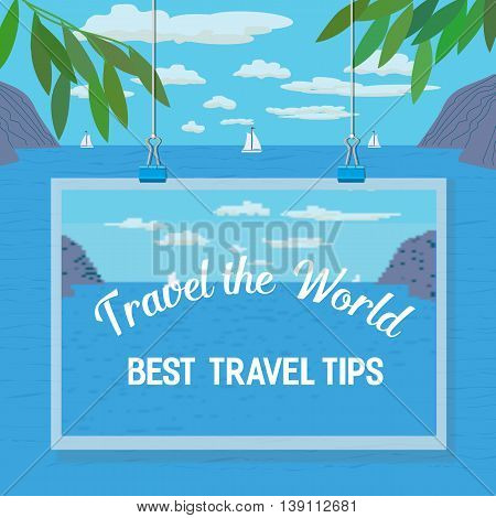 Travel tips. Summer travel. Travel advise. Tourist trip advertising banner, guide for summer vacation. Vector Illustration.