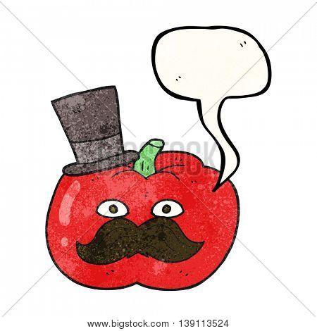 freehand drawn texture speech bubble cartoon posh tomato
