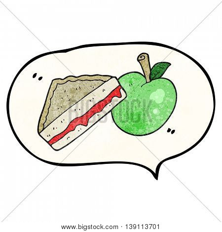 freehand speech bubble textured cartoon packed lunch