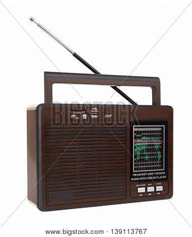 Audio player in retro style with a radio function on a white background