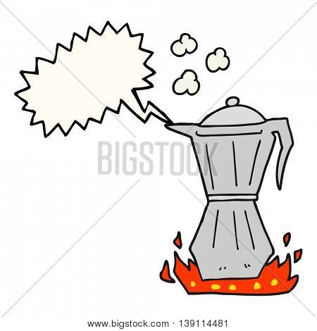 freehand drawn speech bubble cartoon stovetop espresso maker