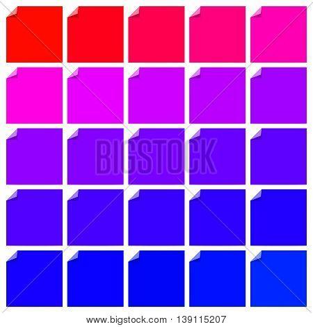 Set of color blank flat labels with curled corner. Folded label corner. Curl flat paper label corner. Vector label illustration set.