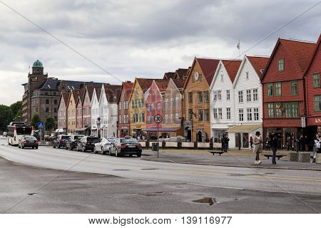 BERGEN, NORWAY - JULY 2, 2016: Bryggen is quarter at the era of the Hanseatic League which is the main attraction and hallmark of the city.