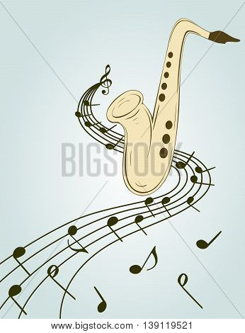 Stylish illustration of saxophone  for slogan, poster,  flier or etc. Sax and musical notes  on the stave, can be used with any image or text.
