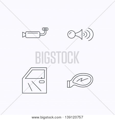 Car door, muffler and klaxon signal icons. Car mirror linear sign. Flat linear icons on white background. Vector